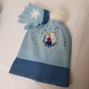 frozen II disney Elsa hat & glove winter set